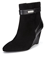 Autograph Suede Wide Fit Water Resistant Strap Wedge Boots with Insolia®