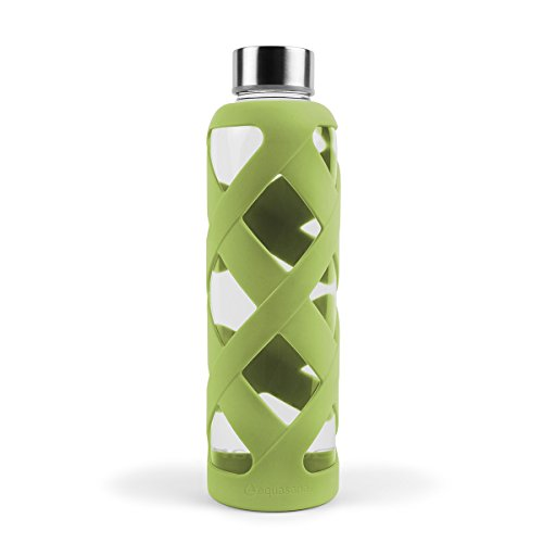 Sale!! Aquasana AQ-WB-AVOCADO Premium Borosilicate Glass Bottle with Silicone Sleeve, 550ml, Avocado