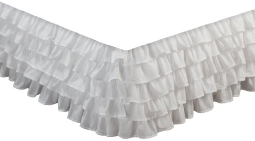 Greenland Home Fashions Multi-Ruffle Bed Skirt, White, Queen front-658336