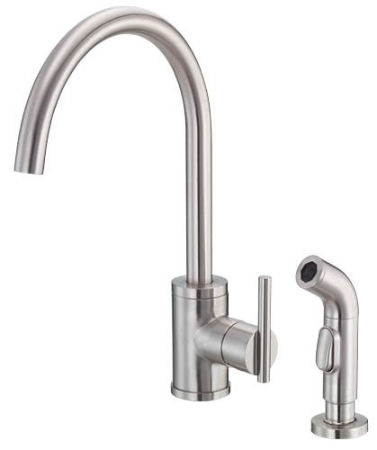 Danze D401558SS Parma Single Handle Kitchen Faucet with Matching Side Spray, Stainless Steel