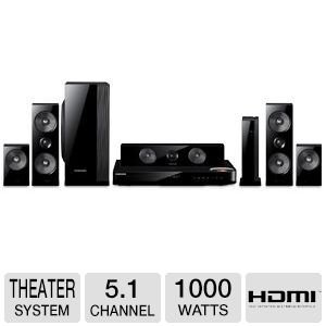 Samsung 5.1 Channel 1000 Watts Wireless Surround Sound 3D Blu-Ray Home Theater System, With Dual 2-Way, Full-Range Wireless Front & Surround Speakers & Passive Subwoofer, 2D And 3D In Full Hd 1080P, Built-In Wifi & Bluetooth, Full Web Browser With Dual Co