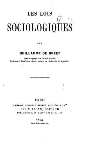 Les lois sociologiques (French Edition)