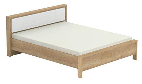 Doppelbett Lepa 17, Farbe: Eiche Braun / Weiß - Liegefläche: 160 x 200 cm (B x L)