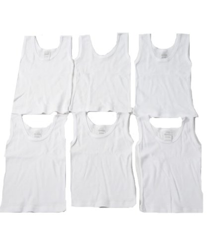 6-Pack Tank Tops by Bambini - white, 19 - 26 lbs