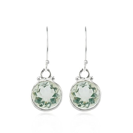 Gyspy Girl Green Amethyst Round Faceted Earrings in Sterling Silver