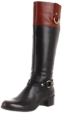 Bandolino Women's Coplie Riding Boot,Black/Cognac Leather,7 M US