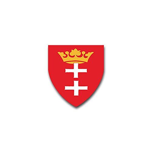 Aufkleber / Sticker -Danzig Polen Gdansk Pommern Staatswappen Wappen Abzeichen Emblem passend für VW Golf Polo GTI BMW 3er Mercedes Audi Opel Ford (7x6cm)#A1509