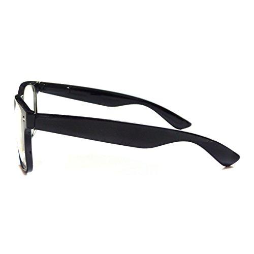 Black Frame Glasses For Toddlers : KIDS Childrens Nerd Retro Oversize Black Frame Clear Lens ...