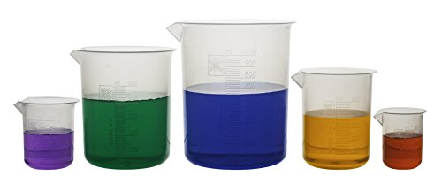 Laboratory Plastic Beaker Set of 5, Made of Premium Polypropylene with Raised Graduations - 50mL, 100mL, 250mL, 500mL, and 1000mL (Autoclavable)