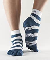 ToeSox Yoga-Pilates Toe Socks with Grips, Small, Holiday Blue Stripe