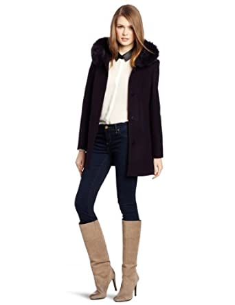 Kristen Blake Women's Fly Front Hooded Ruffle Jacket, Deep Eggplant, Medium