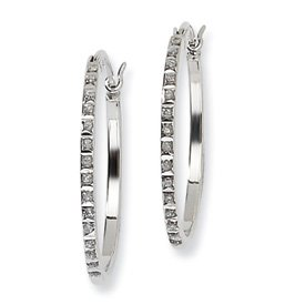 Sterling Silver Diamond Mystique Round Hinged Hoop Earrings - Measures 25x2mm - JewelryWeb
