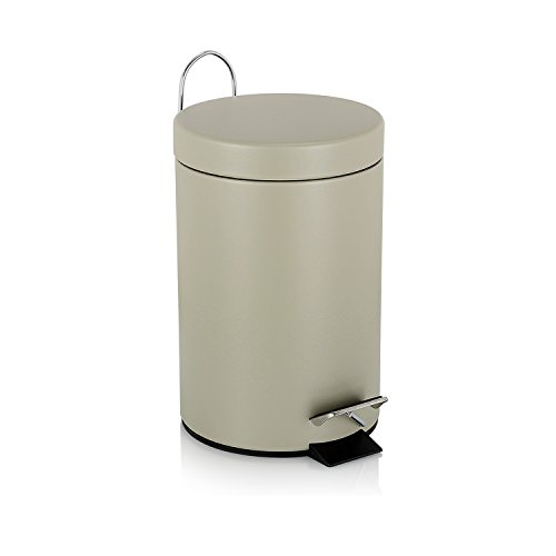 Fortune Candy Round Step Mini Trash Can Carbon Steel with Lid Soft Closing Fitting For Bedroom,Cloakroom, Barthroom0.8Gallon/3L (Light Beige) (Cheap Bathroom Trash Can compare prices)