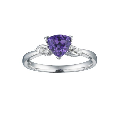Amethyst & Diamond Shoulders Ring in 9ct White Gold, Finger