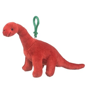 Brachiosaurus Plush Red Dinosaur Stuffed Animal Backpack Clip Toy Keychain WildLife Dino Long Neck - 1