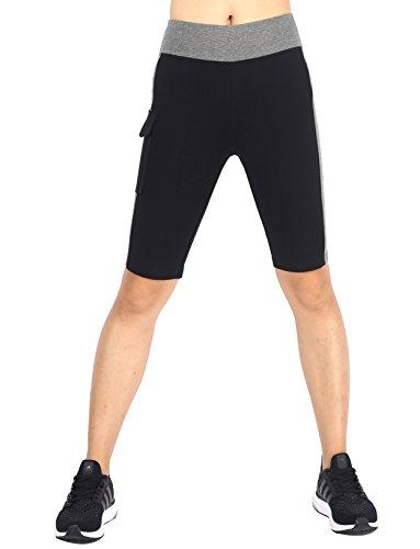 Neonysweets Womens Capri Tights Fitness Running Yoga Pants Leggings Black Gray M