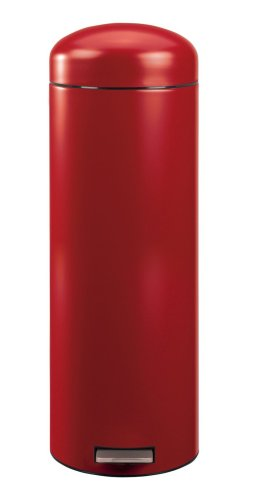 Brabantia Retro Pedal Bin Slimline with Metal Bucket, 20 Litre, Deep Red