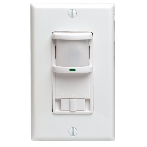 Decora 500W Incandescent, 400VA, Passive Infrared Wall Switch Occupancy Sensor, Single Pole and 3-Way, White, PR180-1LW