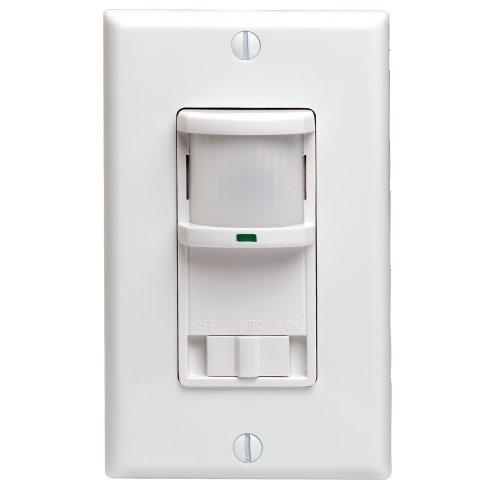 Decora 500W Incandescent, 400VA, Passive Infrared Wall Switch Occupancy Sensor, Single Pole and 3-Way, White, PR180-1LW