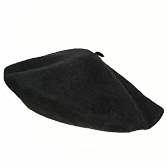 Luxury Divas Traditional Black Wool Tami Beret Cap Hat