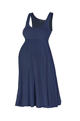 Beachcoco Women's Maternity Knee Length Tank Dress (M, Navy)