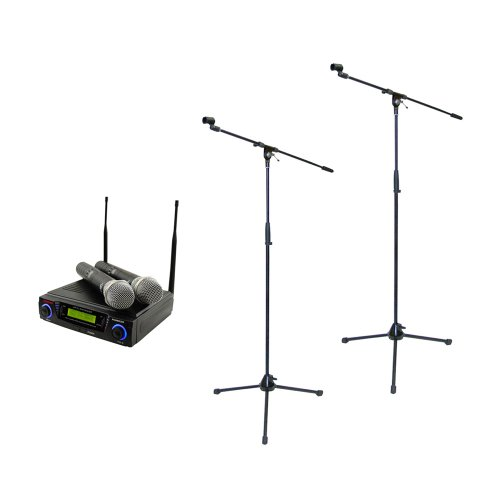 Pyle Mic And Stand Package - Pdwm3300 Wireless Professional Uhf Dual Channel Microphone System With 2 Microphones - 2X Pmks2 Pair Of Tripod Microphone Stand W/Boom