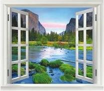 Amazon mountain river view faux window decal 10 for Poster mural plage pas cher