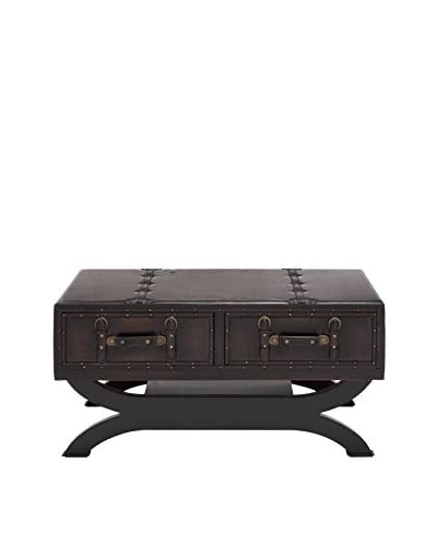 UMA Wood & Faux Leather Coffee Table, Black