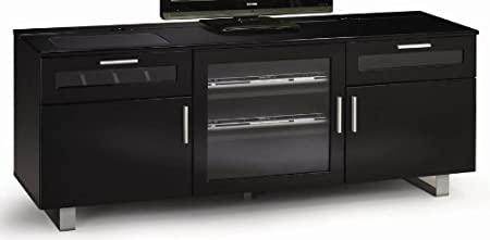 High gloss Black finish wood TV stand entertainment center with storage drawers and built in connect it drawer