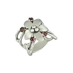 Handmade Sterling Silver Garnet Flower Ring with 14K Gold Settings