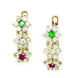 14ct Yellow Gold Green and Red CZ Small 3 Flower Leverback Earrings - Measures 15x6mm