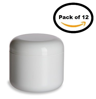 Nakpunar 12 Pcs, 4 Oz White Double Wall Plastic Jars with Dome Lid (4 Oz White Plastic Jar compare prices)