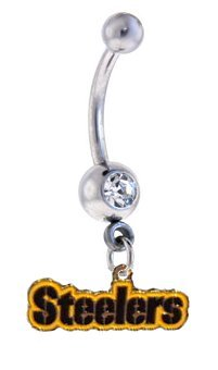 Pittsburgh Steelers LETTERING LOGO NFL Sexy Belly Navel Ring from SteelerMania