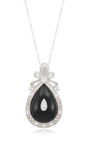 10k White Gold Antique Teardrop Onyx Diamond Pendant (0.05 cttw, I-J Color, I2-I3 Clarity), 18