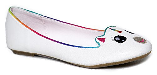 Cute to the Core Critter Round Toe Casual Ballet Flats - Unicorn Bear Cow Sheep Panda Animals