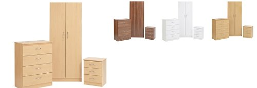 Boston Bedroom Furniture Set Double Wardrobe 3 Drawer Bedside 5 Drawer Chest 4 COLOURS (Beech)