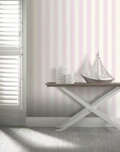 Opera Linen Stripe Wallpaper - Pink by New A-Brend