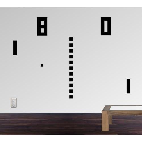 StikEez Black Large Ping Pong Retro Table Tennis 8 bit Fun Wall Decal