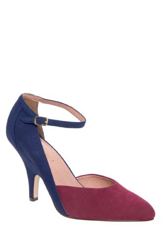 Chelsea Crew Kelly High Heel Pointed Toe Stiletto Wedge Pump - Navy Burgundy