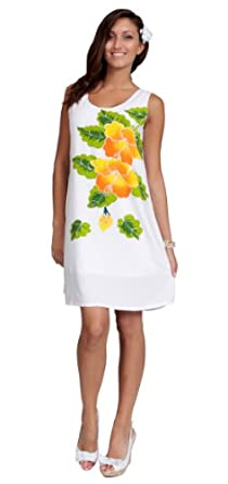 1 World Sarongs Womens White Sundress With Gold Hibiscus Design - Lined - Small