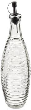 Ribbed Swelled Glass Oil and Vinegar Cruet Dispenser Set of 2