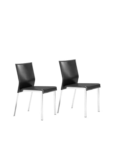 Zuo Modern Set of 2 Boxter Dining Chairs, Black