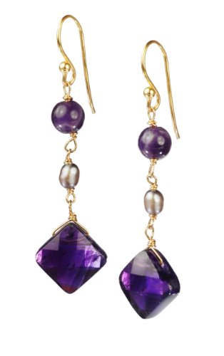 Silver Gray Freshwater Cultured Pearl with Amethyst Faceted Diamond Shape Drop Earrings