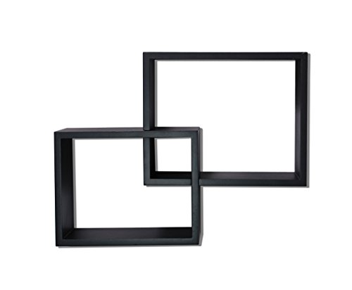 nexxt Link Overlapping Wall Shelves Black, Set of 2