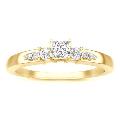 0.58 Carat Engagement Ring on Sale with Princess cut Diamond on 18K Yellow gold