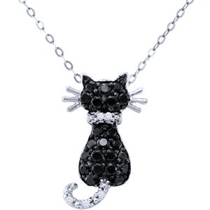 1/3 Carat Black & White Diamond 10k White Gold CAT Pendant w/ Chain