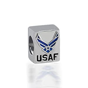Bling Jewelry Patriotic 925 Silver USAF Air Force Bead Fits Pandora Biagi Troll