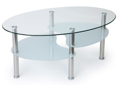 Caf table basse ovale verre trempe - Table basse verre ovale ...