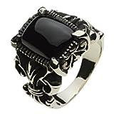 【セノーテ】 cenote r5024 【ホワイトメタルアクセサリー リング・指輪】 オニキス 百合の紋章 リリー フラダリ メンズ
