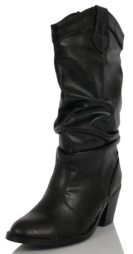 Black Faux Leather Slouchy Cowboy Mid Calf Boots65